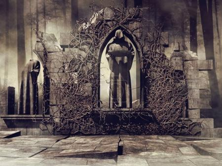 Ruined wall of a gothic temple with a monk statue in the forest. 3D render.