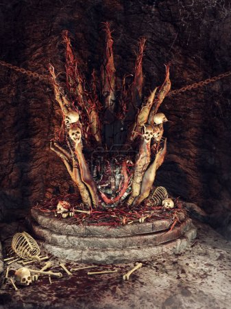 Spooky throne with skulls and pieces of flesh in an underground cave. 3D render.
