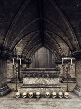 Dark gothic crypt with human skulls, candles and a...