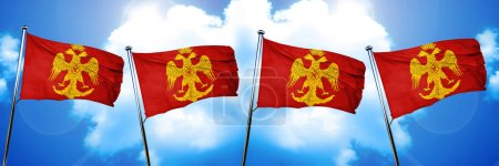 Byzatine eagle flag, 3D rendering...