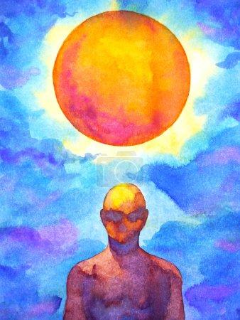 Photo pour Esprit humain spiritaul se connecter à la pleine lune pouvoir abstrait art aquarelle peinture illustration dessin à la main - image libre de droit