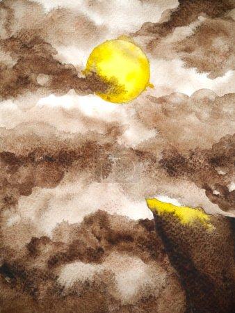 Photo pour Jaune pleine lune nuit noire sépia art abstrait aquarelle peinture illustration dessin à la main - image libre de droit