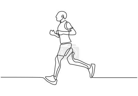 Photo for Continuous one line drawing of man running sport theme hand drawn vector illustration minimalism design - Royalty Free Image