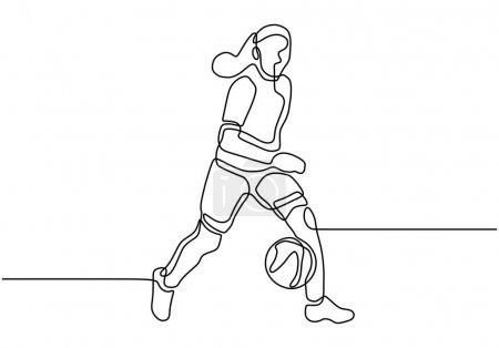 Photo for Continuous one line drawing of girl playing football. Woman player dribbling a ball minimalism concept. - Royalty Free Image