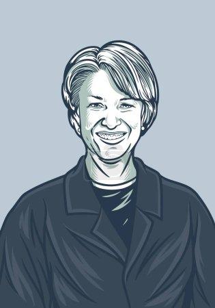 Illustration pour 17 avril 2020 Portrait de Amy Klobucher illustré par des personnages. Illustration de l'élection présidentielle américaine de 2020. Contexte de la campagne politique ou affiche. Illustration vectorielle du jour des élections - image libre de droit