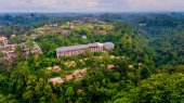 Aerial view area hotel in the jungle.