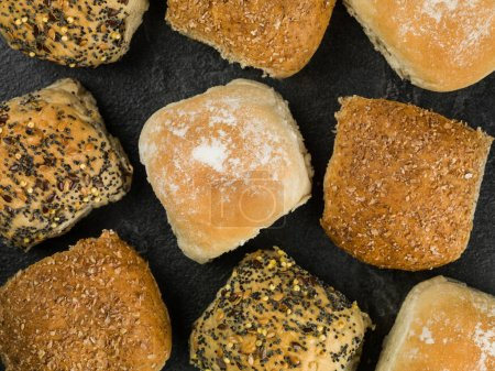Selection of Mixed Bread Rolls or Buns Against a B...