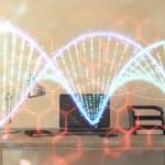 DNA hologram with desktop office background. Doubl...