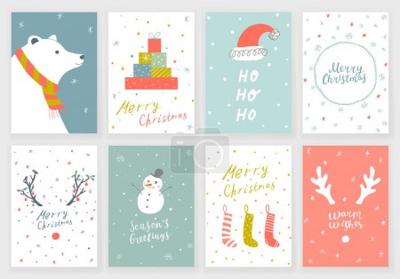 Set of 8 Christmas greeting cards with hand drawn ...
