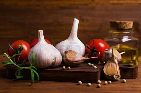 Raw vegetables and spices
