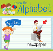 Flashcard letter N is for newspaper