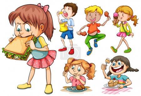 Illustration pour Garçons et filles mangeant différents types d'illustrations alimentaires - image libre de droit