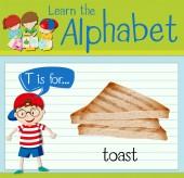 Flashcard alphabet T is for toast illustration