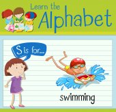 Flashcard letter S is for swimming illustration