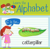 Flashcard alphabet C is for catterpillar