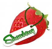 Font design with fresh strawberry and word