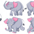 Постер, плакат: Gray elephants in different actions