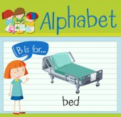 Flashcard letter B is for bed illustration