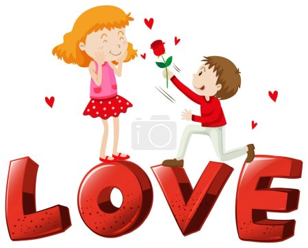 Illustration for Font design for word love with love couple illustration - Royalty Free Image