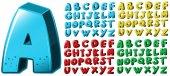 English alphabet font design in four colors