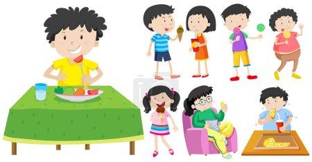 Illustration pour Illustration des enfants mangeant des aliments sains et malsains - image libre de droit