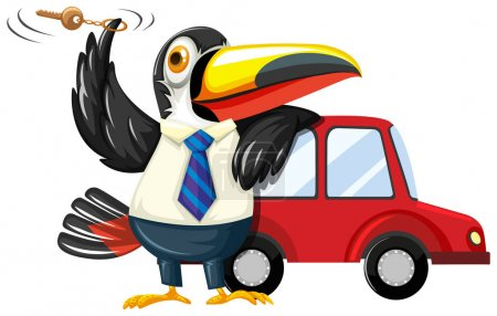 Toucan spinning carkey by the car