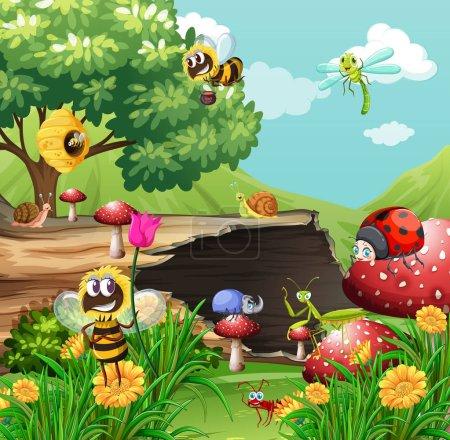 Illustration pour De nombreux insectes dans l'illustration du jardin - image libre de droit