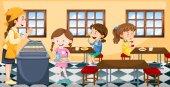 Children having lunch in canteen