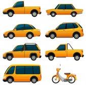 Různé druhy dopravy v žlutá