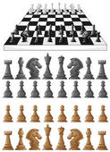 Chessboard and different chess pieces