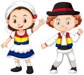 Romania children in traditional outfit illustration