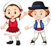 Romania girl and boy in traditional clothes illustration