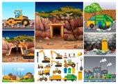 Excavator tractors working in different sites