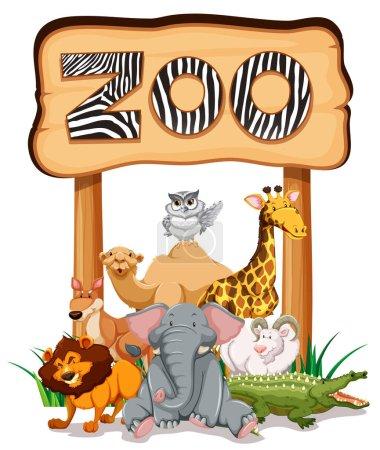 Illustration pour Animaux sauvages sous le signe du zoo illustration - image libre de droit