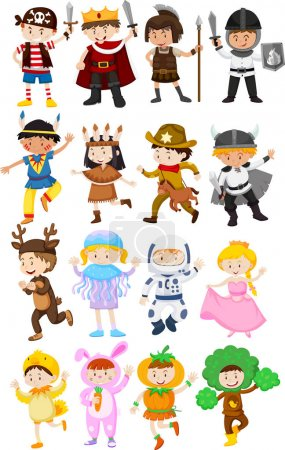 Illustration for Children in different costumes illustration - Royalty Free Image