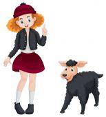 Little girl and black sheep illustration