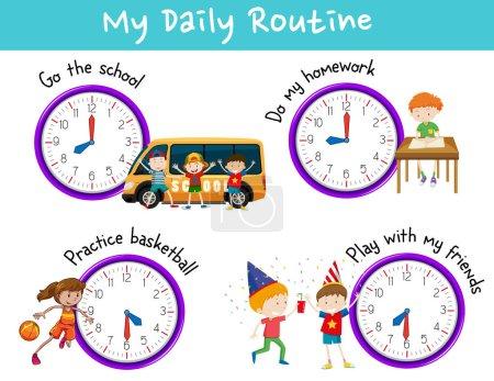 Illustration pour Routine quotidienne pour les enfants avec horloge et activités illustration - image libre de droit
