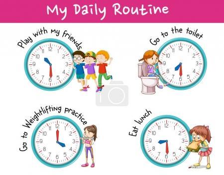 Illustration pour Enfants et différentes activités pour l'illustration quotidienne de routine - image libre de droit