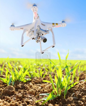 Photo for PILSEN CZECH REPUBLIC - APRIL 17, 2017: Drone quadrocopter Dji Phantom 3 Professional with camera. Farmer use drone for inspect of crop on wheat fields. Modern technology in agriculture. - Royalty Free Image