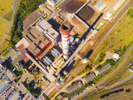 Modern combined heat and power plant from above