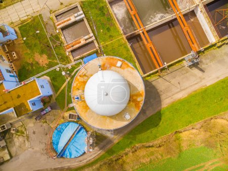 Aerial view to biogas plant and sewage treatment