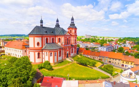 Photo for Church of The Assumption (1775) in small town Prestice. Architecture from above. Rare baroque monument in Czech Republic, Central Europe. - Royalty Free Image