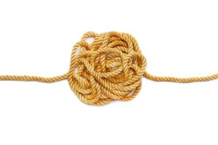 hemp rope isolated on white background. Industrial background.