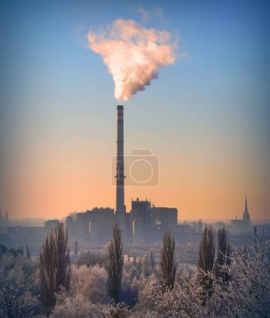 Smoking stack from lignite combined heat and power plant