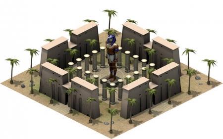 Photo pour Rendu 3D de la plate-forme isométrique de l'Egypte ancienne. illustration de l'architecture ancienne, statue du dieu Horus et palmiers en dessert. Cette image est carrelable . - image libre de droit