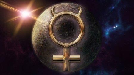 3D rendering image of brilliant gold Mercury zodia...