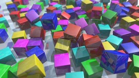 3d colorful particles blocks