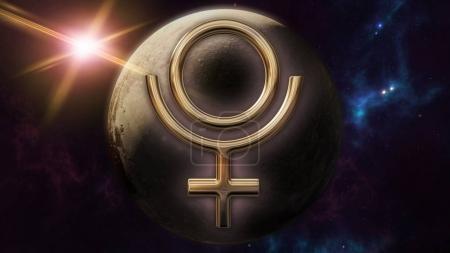 Photo pour Image de rendu 3D d'un or brillant symbole de Pluton du zodiaque horoscope. Un signe de l'astrologie sur le premier plan et le globe de planète de Pluton derrière elle. Une scène avec un fond futuriste cosmos mystique. - image libre de droit