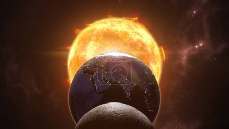 Sun, moon and earth globes.