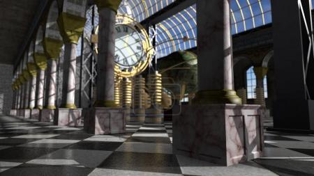 Time machine in victorian interior